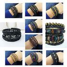 New wooden adjustable multi-layered bracelet bangle wristband 8 Designs Unisex