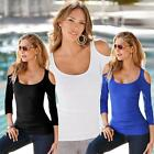 Summer Women Long Sleeve Off Shoulder Casual Blouse Stretch T-Shirt Sexy O-neck