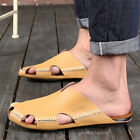 Men's Sandals Beach Home Closed Toe slip flop Handmade Leather Sandals Slippers