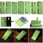 Green Flip PU Leather Card Slot Case Magnetic Close Stand Cover Fashion Wallet