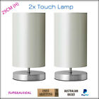New Faux Silk Shade Silver And White Bedside Desk Touch Lamp 29cm Height 2x