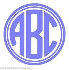 """Double Circle Monogram 3 Letter Decal Sticker 7"""" Choose your Color No Background"""