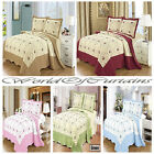 Bedspread 3 Pcs(Piece) Embroidered Quilt Poly Cotton Bed Throw, 2 Pillow Shams