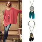 Women Fashion Retro Feather Pendant Long Sweater Chain Necklace Jewelry
