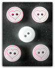White Red Heart Buttons Round Plastic 13mm  Wide CHOOSE 5 OR 10 Set
