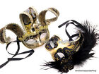 Couple Masquerade Ball Mask Jester Black Gold feather Wedding Dance Prom Party