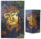 Balinese Hand Carved Split Face Buddha Wood Carving Panel Wall Hanging - 3 sizes