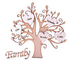 Personalised Wooden Family Tree Shape with 5 Personalised Hearts & Family sign