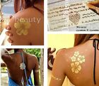 GOLD FLASH TATTOO-Tatuaggi Adesivi Temporanei-Body Art-Metallico ORO-ARGENTO!!!