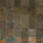 Indian Multicolor Tumbled Slate Floor and Wall Stone Mosaic Sheet