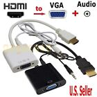 1080P HDMI Male to VGA with Audio Converter Adapter Cable PC Monitor Projector