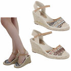 womens espadrille hessian wedge heel ladies strappy summer sandals shoes size