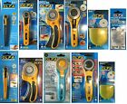 OLFA ROTARY CUTTERS & SPARE BLADES CUT FABRIC, LEATHER, PAPER,18,28,45,60mm ALL