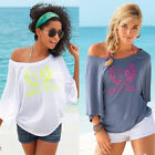 Sexy Women Beach Short Sleeve Tops Blouse Casual Cotton Loose T Shirt Summer