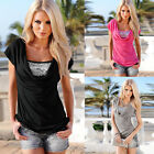 New Womens Sequin Loose Pullover T Shirt Short Sleeve Casual Tops Shirt Blouse