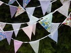 Fabric Bunting 40,30,20 or 10 Flags Wedding Shabby Handmade chic Garden Party