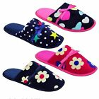 LADIES WOMENS GIRLS FULL TOE MULE SLIPPERS IN 4 DESIGNS SIZES SMALL, MED, LARGE