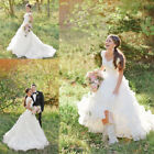 Modest Country Long Wedding Dresses 2018 Ruffled Bridal Gown Custom 2 4 6 8 10++