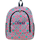 Personalized Geometric Vine LARGE School Bag Backpack Monogram Name Embroidery
