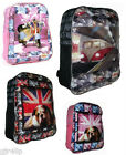 RETRO OLYMPICS Large School Backpack 3 LONDON Retro Designs Black Pink Rucksack