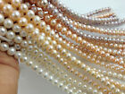 15inches 7-8mm White Natural Freshwater Pearl Round Loose Beads DIY Jewelry