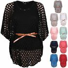 Womens Batwing Sleeve Ladies Belted Crochet Mesh Net T-Shirt Racer Back Vest Top