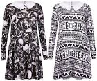 Womens Skull Aztec Print Ladies Stretch Collar Swing Dress Jumper Flare Long Top