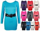 WOMENS NEW STRETCH BODYCON LONG SLEEVE LADIES PLAIN BLACK BELT DRESS TOP 8 - 14
