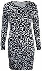 New Womens Stretch Bodycon T-Shirt Dress Ladies Long Sleeve Print Top Size 8-14