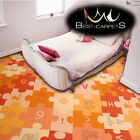 CHILDREN'S CARPET 'PUZZLE' orange Kids Play Area Bedroom, Fun Rug, ANY SIZE