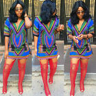 Fashion Women Traditional African Dashiki Deep V-Neck Sexy Bodycon MINI Dress