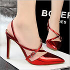 Sexy Women Pointed Wet Look Cross Strappy Shallow High Stiletto Pumps Shoes L273