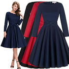 Womens Retro 50 Vintage Long Sleeve Evening Party Cocktail Prom Dress Swing Gown