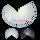50pc Nail Art False Tips Sticks Practice Display Fan Colour Swatch Brand New GRO