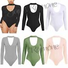 New Womens Ladies Choker Keyhole V Neck Plain Bodysuit Long Sleeve Leotard Tops