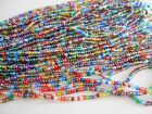"""YOU CHOOSE!  6/0  20""""L  STRAND  TRANSPARENT  LUSTER GLASS BEADS / 8 OPTIONS!!!"""