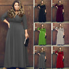 Sexy Women V-Neck 3/4 Sleeve Summer Maxi Long Shirt Dress Ladies Party Sun Dress