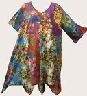 Nwt FUNKY STUFF hippy patch floral cotton hanky TOP TUNIC DRESS 4X Free shipping