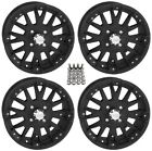 "QuadBoss SCOVILLE BOSS ATV Wheels/Rims Black 15"" (5+2) Yamaha Grizzly Rhino (4)"