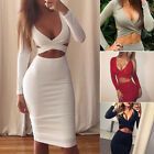 Sexy Womens Deep-V-Neck Long Sleeve Bodycon Evening Party Culbwear Short Dress