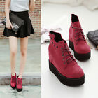 Casual Women Short Boots Rivet Heavy-bottomed Increase Wedge Heels Lace Up Shoes