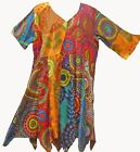 Nwt FUNKY STUFF hippy patch circle dot cotton hanky TOP TUNIC DRESS 2X Free ship