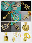 New 32'' Crystals Pendant Necklace Gold Plated Hip Hop