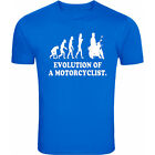 EVOLUTION OF MAN (MOTORCYCLIST) SHIRT - VARIOUS SIZES + COLOURS. FREE POSTAGE.