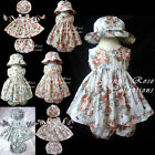 #CF7 HANDMADE Baby Toddler Girl Floral Print Summer Sun Flower Dress Clothes Set