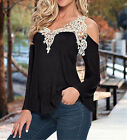LADIES Womens Casual Lace Shirt Off Shoulder Blouses Tee Loose Tops T Shirt New