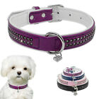 Bling Rhinestone Soft Leather Dog Cat Collars With Heart Pendant Pink Blue Black