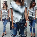 New Women Striped Short Sleeve Casual Loose T-Shirt Tops Blouse Tee Shirt