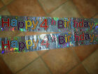 "6 x 35""  Foil Party Banners HAPPY 4TH BIRTHDAY  Party~Celebration (Boy or Girl)"