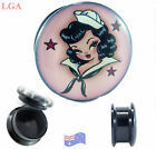 Ear TUNNEL Plug Screw Acrylic Stash PIN UP SAILOR GIRL ROCKABILLY  6mm- 25mm*